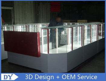China Customize made white wooden tempered glass mobile kiosk for sale factory