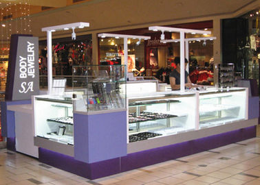 China Easy Install Jewelry Showcase Kiosk Attractive Purple Color Coating Wooden Material factory