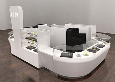 China Curved White Coating Kiosk Jewelry Display Showcase Professional 3D Design factory