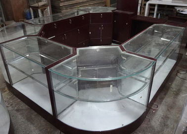 China Crystal Tempered Glass Jewelry Kiosk Furniture Full View Round Shape With Lights factory
