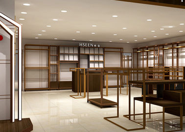 China Luxury Boutiques Retail Clothing Displays Antique Copper Brush Stain Steel Material factory