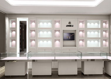 Matte White Color Jewellery Display Cabinets With LED Lighting Decoration