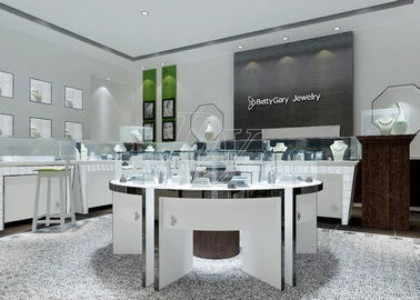 China Modern White Color Round Circle Jewellery Display Counter / Retail Display Cases factory