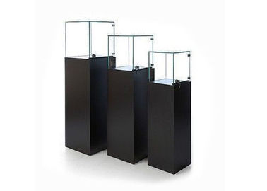Wooden Glass Floor Standing Display Cases With Led Lights 350X350X1150MM