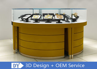 China Modern Wooden + Tempered Glass Jewelry Display Counter Matte Yellow factory