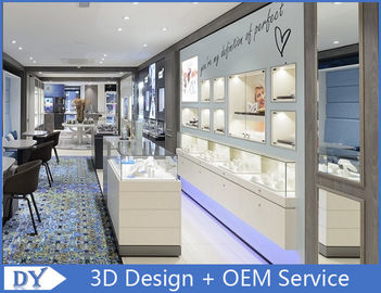 Matte White Coating Jewelry Wall Display Cases With Led spot / Logo