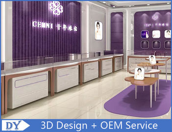 China Rose Gold Stainless Steel Showroom Display Cases / Jewellery Display Cabinets factory