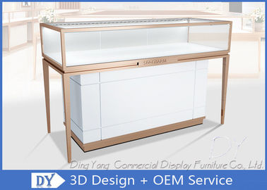 China Rose Gold Stainless Steel Frame Jewelry Display Cases With MDF Cabinet factory