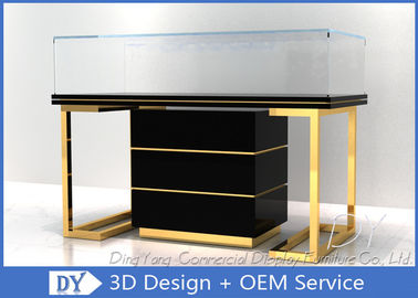 China Custom Commercial Mirror Gold Jewelry Display Case With Cabinet supplier