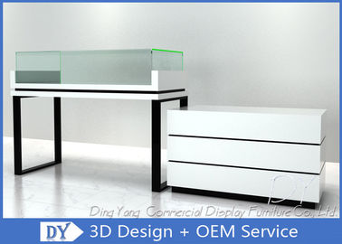 White Jewelry Display Cases , Retail Glass Wooden Jewellery Display Cabinets