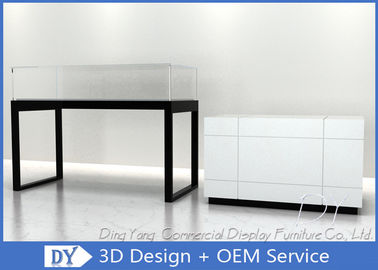 China Glossy White Glass Jewelry Counter Display / Jewelry Showcases factory