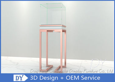 China OEM Rose Gold Glass Jewelry Display Case Pedestal Display Furniture factory