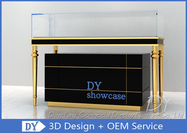 China Luxury Black Glass Jewellery Display Cabinet With Logo Customized supplier