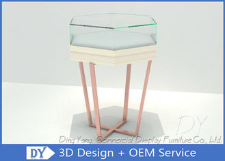 China Simple Fashion Glass Jewelry Display Case With Environmental PU Paint factory