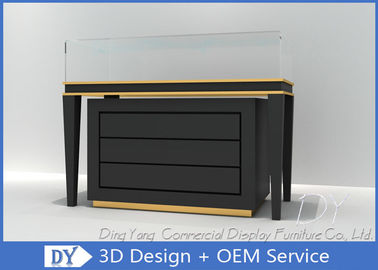 China Black Commercial Gold Shop Glass Counter with MDF Wood + Tempered Glass + Lights factory