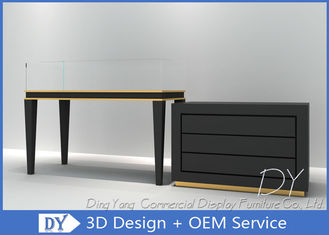 China Morden Black Store Jewelry Display Cases Storage With Door And Wooden Shelf Inside factory