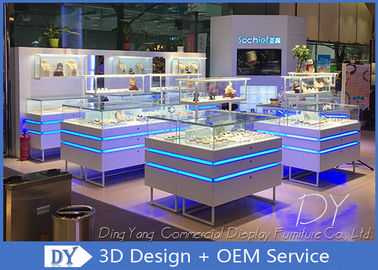 Fashion Jewelry Showcase Display With Led Lights / Jewellery Counter Display