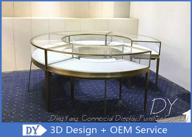 Round SS Glass Jewelry Display Cases With Locks / Retail Glass Display Cabinets