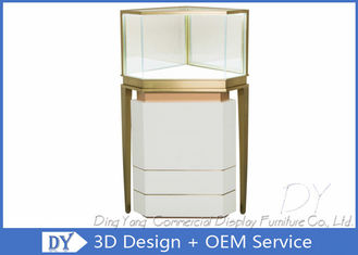 Custom Lighting Corner Store Jewelry Display Cases With Cabinet