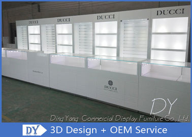 Glossy White Jewelry Display Showcases Fully With Led Lights Locks Enclosed Large Stor