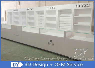 Shining White Store Jewelry Display Cases , OEM Design Jewellery Shop Counter
