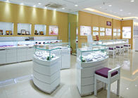 China Retail Shop Lighted Commercial Jewelry Wall Display Case High Glossy White Color factory