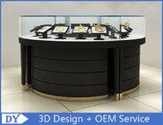 China Curve Wood Black Lighted Jewelry Display Case / Jewellery Display Cabinets factory