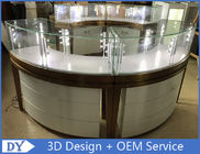 China High End Stainless Steel Gold Jewellery Showroom Display With Led Light factory