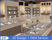 Fashion Jewelry Store Interior Showroom Display Cases MDF + Tempered  Glass