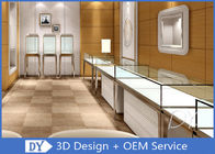 China Brush Gold Stainless Steel Jewelry Counter Design With Wood Cabinet company