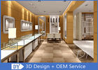 Brush Gold Stainless Steel Jewelry Counter Design With Wood Cabinet supplier