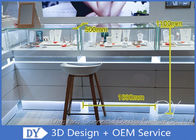 Luxurious Store Jewelry Display Cases / Beige Painting Finished Gold Shop Counter supplier