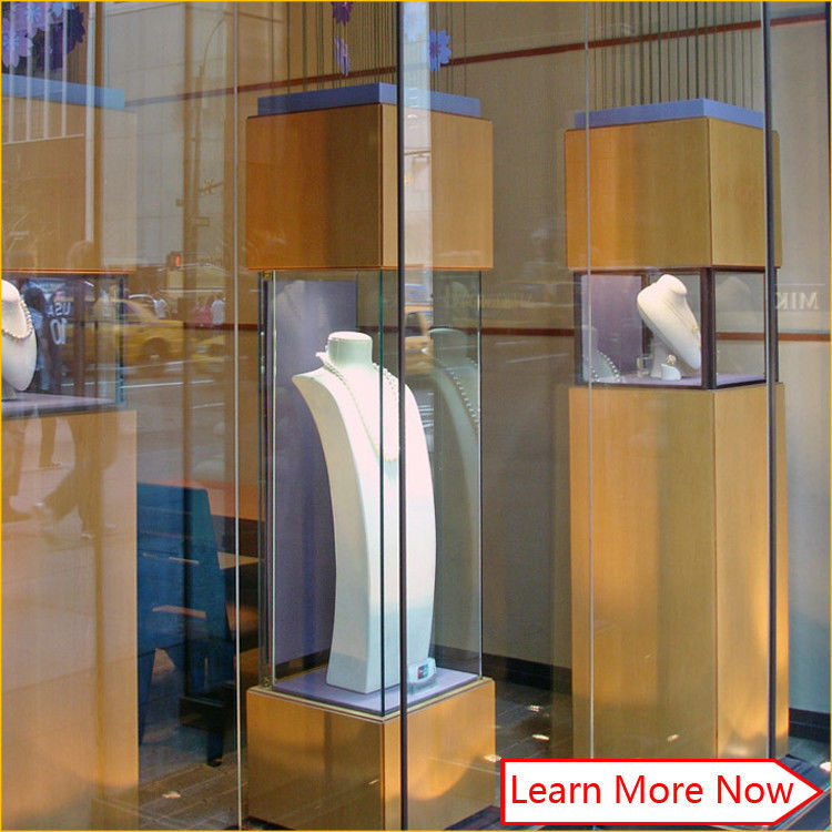 Customized tempered glass jewelry display glass tower case,glass display counter for jewelry show supplier