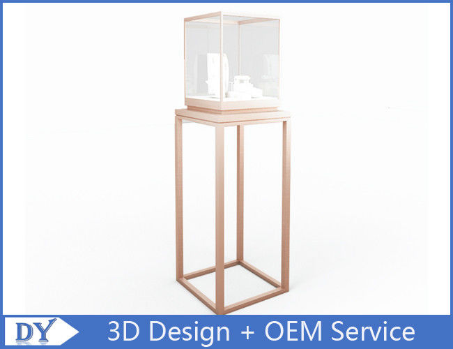 OEM manufacturing high end stainless steel museum pedestal display case with led spot lights supplier