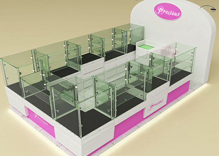 Fully Lockable Wood Glass Jewelry Showcase Kiosk , Retail Commercial Display Cases supplier