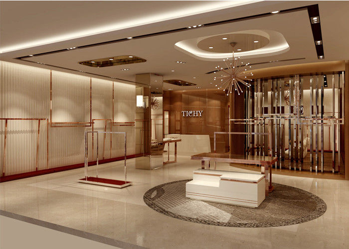 Lady Apparel Showroom Retail Clothing Fixtures Rose Gold Stainless Steel Material supplier