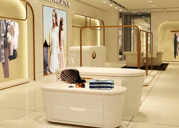 Beautiful White Color Retail Clothing Fixtures For Lady Clothing Display supplier
