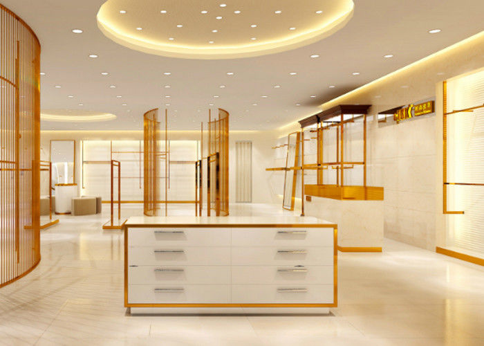 Luxury Stainless Steel Store Display Fixtures For Women Clothing Shop supplier