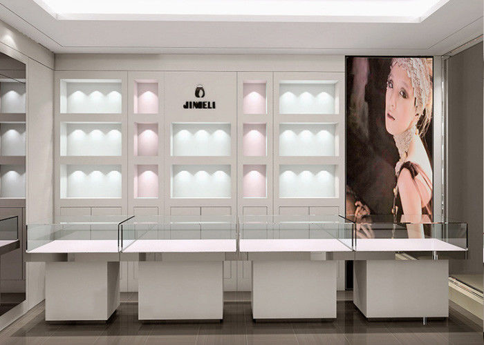 Crystal Tempered Glass Top Showroom Display Cases Decorated With Pole Lights supplier