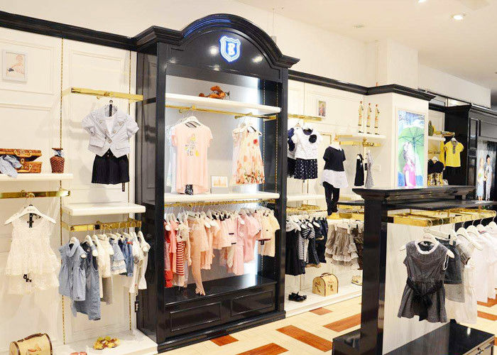 Durable Kids Retail Clothing Fixtures Garment Shop Wood Adjustable Shelves supplier