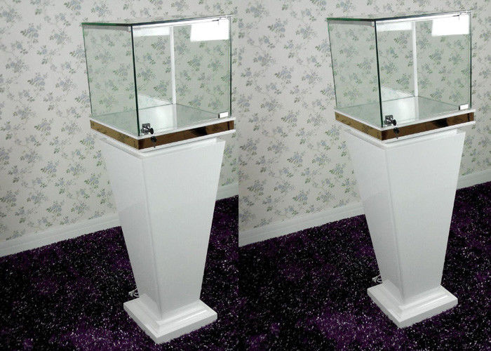 Modern Wood Glass White Exhibition Cabinets , Lockable Jewellery Display  Cabinets