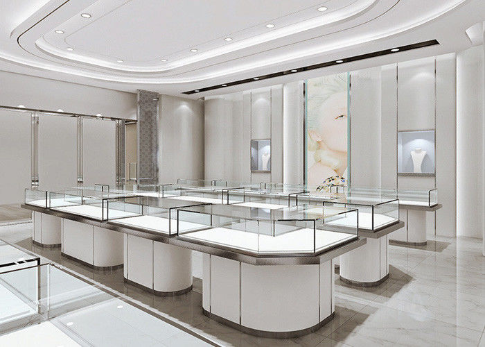 Matte White Jewelry Store Display Cases Jewellery Display Counter