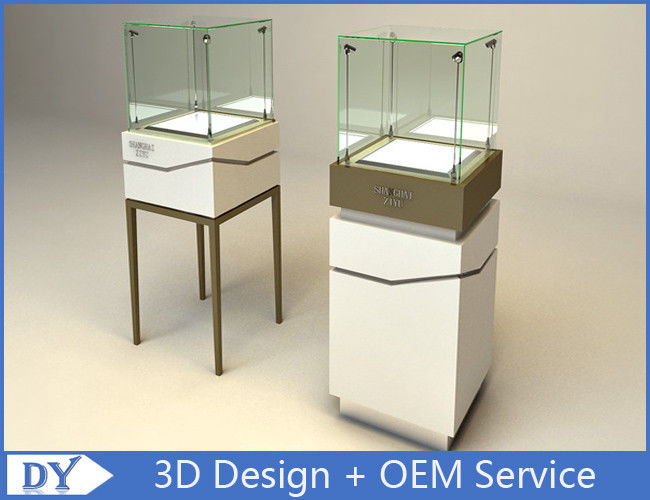 High Square Glass Jewelry Display Case With Lights Logo / Shop Glass Display  Cabinets