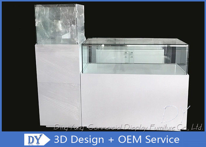 Glossy White Square / Rectangle Custom Glass Display Cases With Shelf Inside supplier
