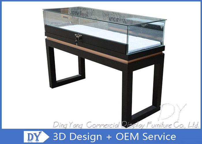 black custom glass display cases plinth for jewelry watch with led