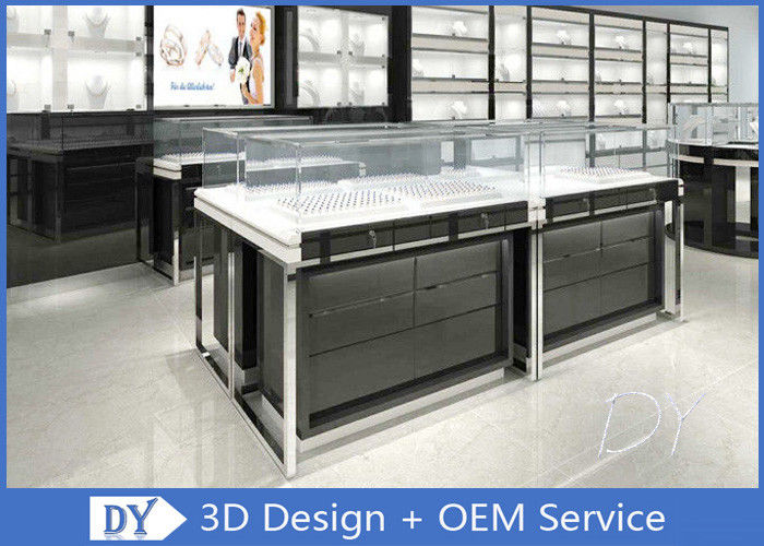 OEM Glossy Black Stainless Steel Showcase Display For Jewelry supplier
