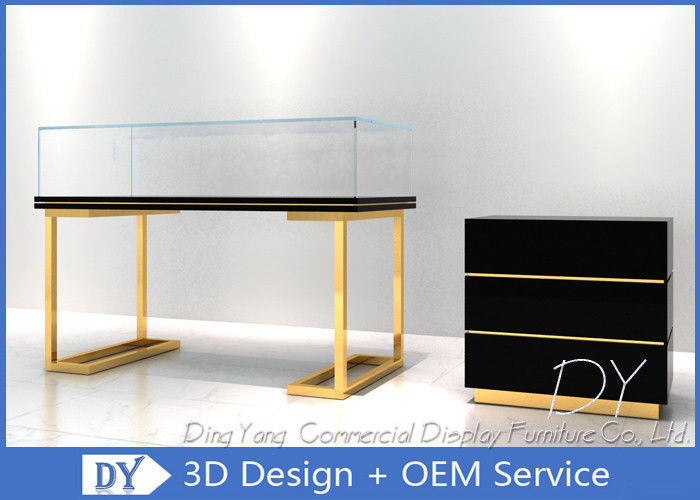 Wood Stainless Steel Jewelry Display Cases With Led Matte Black + Mirror Gold Pre Assemble supplier