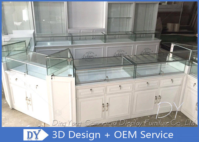 Glossy White Store Jewelry Display Cases , Fully Pre - Assembly Jewellery Shop Showcase supplier