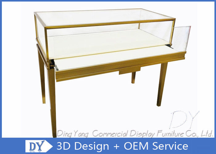 Gold Color Modern Glass Jewellery Counter Display With Lockable LED Lights supplier