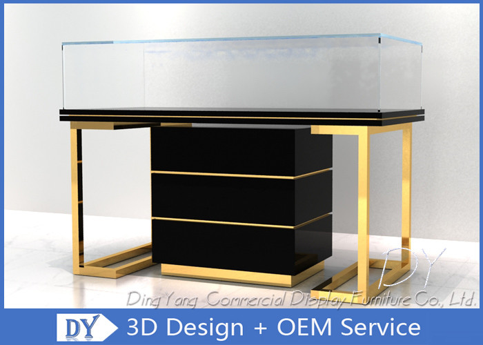 Custom Commercial Mirror Gold Jewelry Display Case With